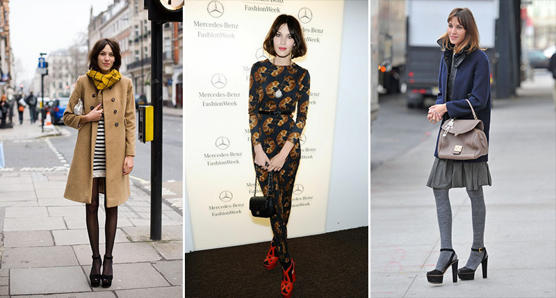 Alexa Chung is wearing tights and sandals