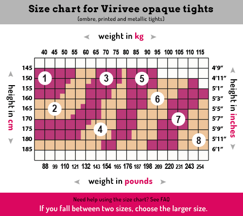 Virivee tights sizing chart