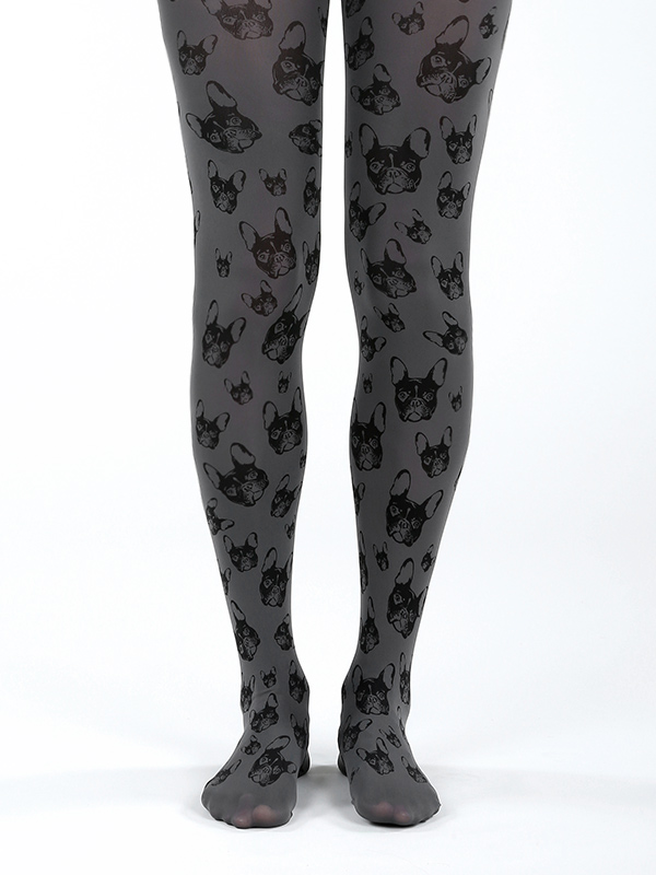Grey French Bulldog Tights