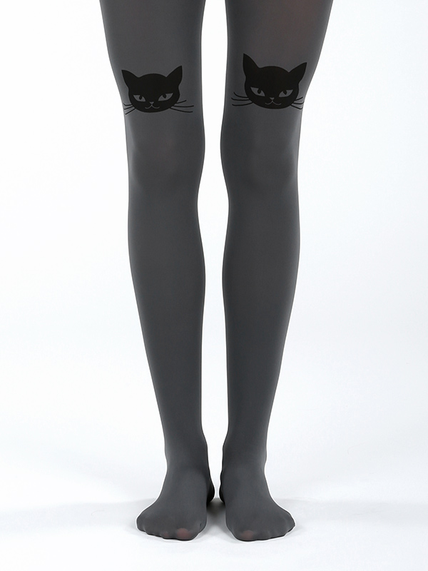 Cat Head Tights In Grey