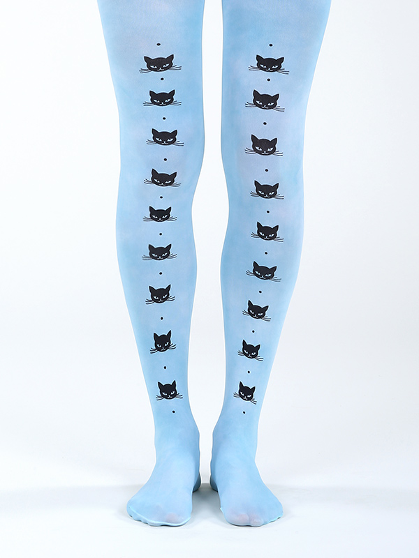 Cat Line Tights In Blue
