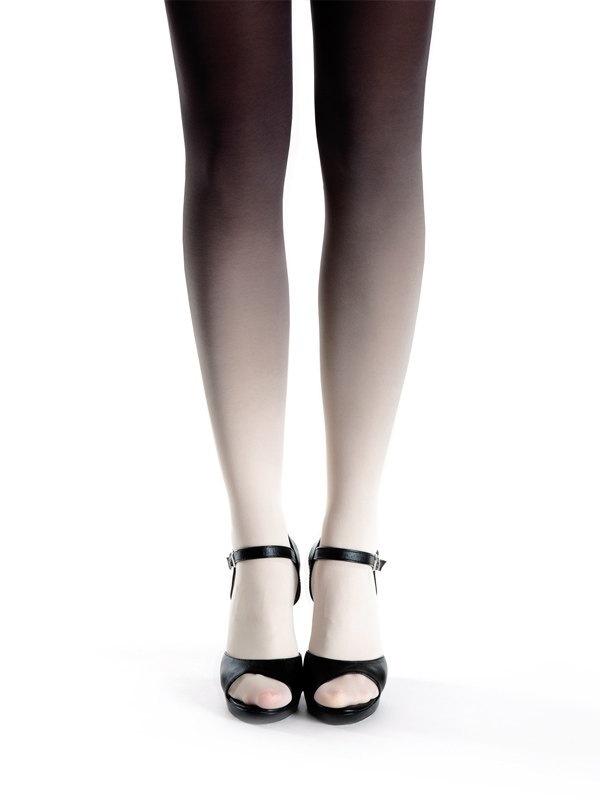 Ivory-black ombre tights