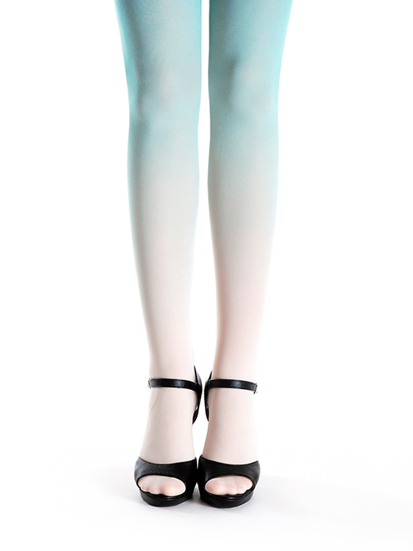 Ivory-mint Ombre Tights