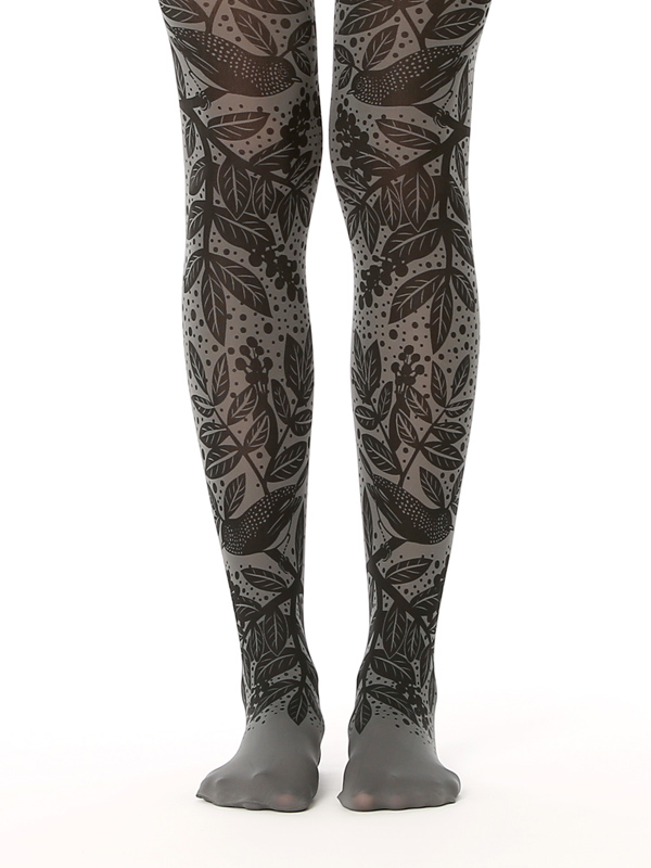 Grey Forest Printed Tights