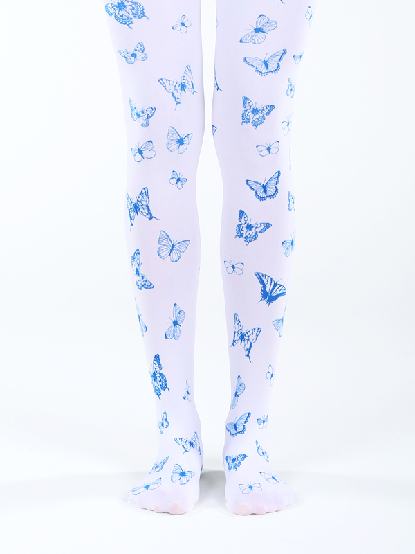 White Butterfly Tights