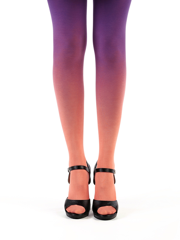 Salmon-purple ombre tights