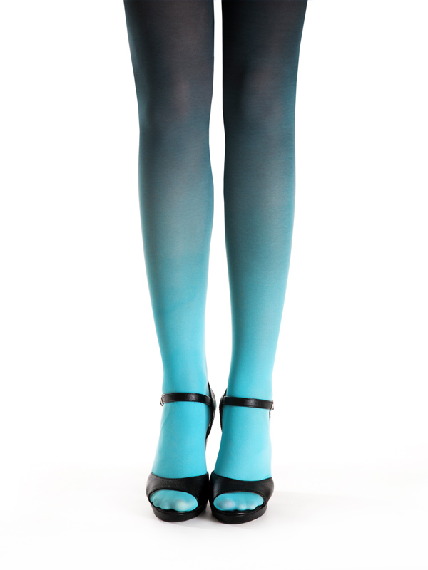Turquoise-black ombre tights