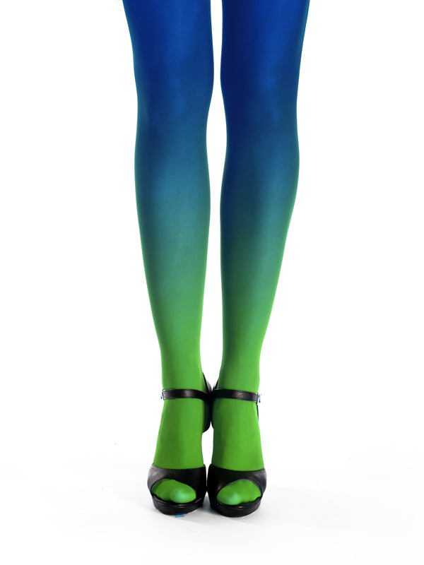 Green-blue ombre tights