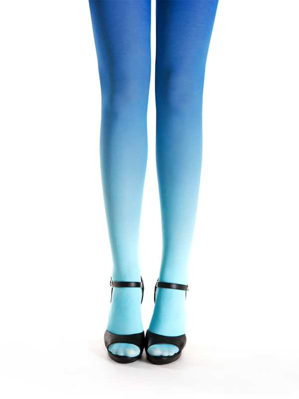 Turquoise-blue ombre tights by Virivee
