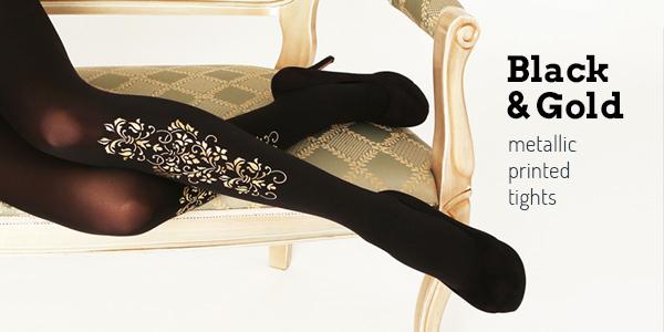 Buy Virivee Black & Gold tights online