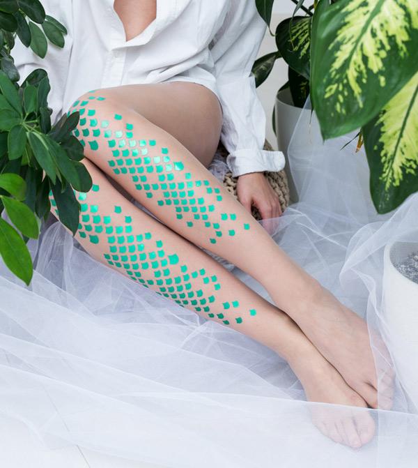 Ariel green mermaid tights by Virivee