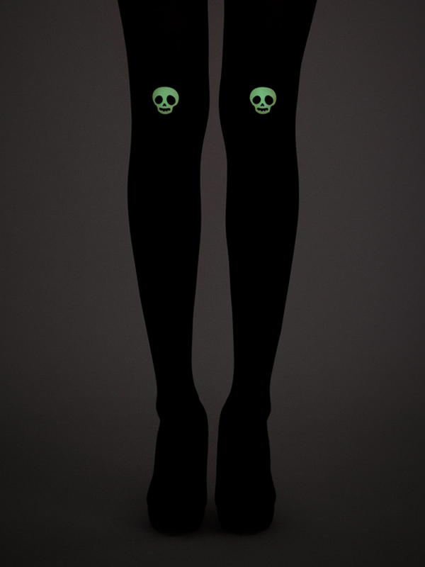 Glow-in-the-dark Skull Tights