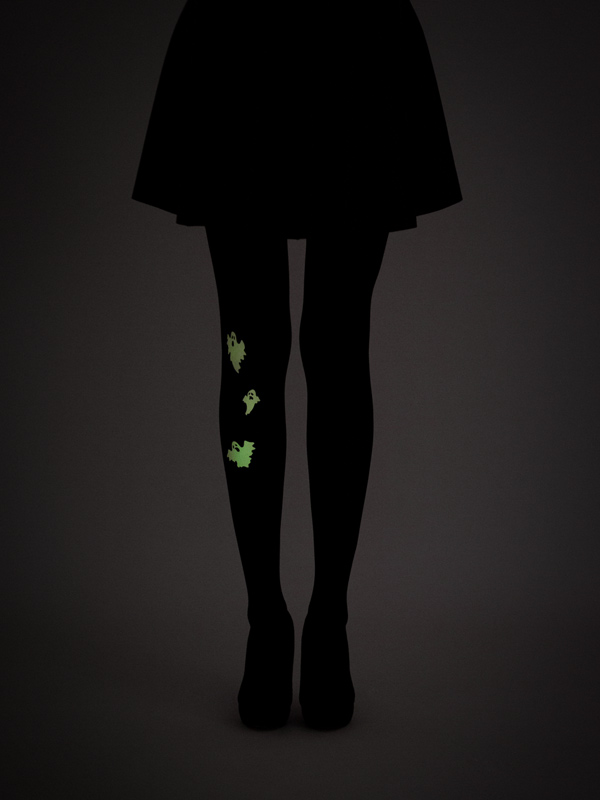 Glow in the dark ghosts tights by Virivee