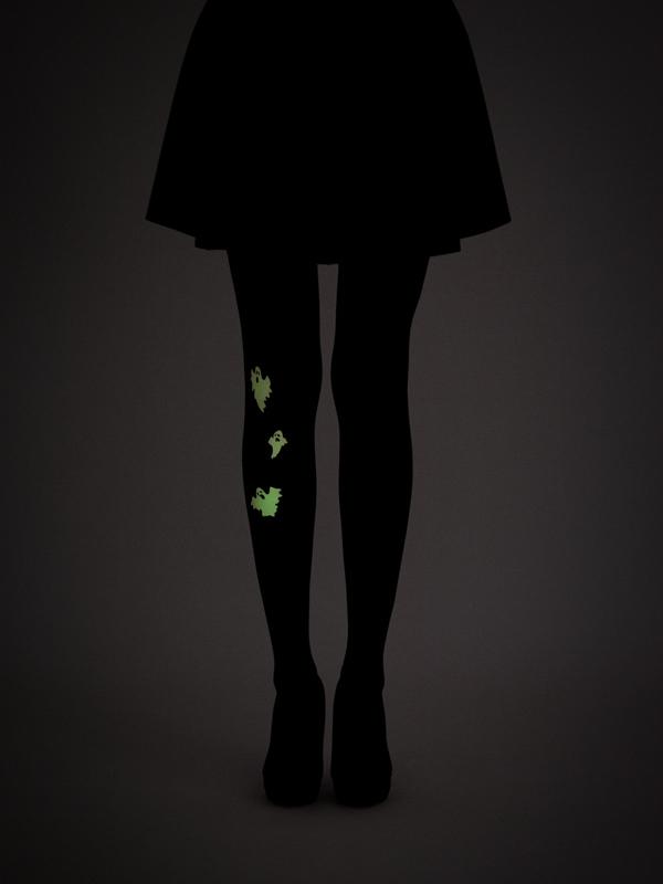 Glow In The Dark Ghosts Tights By Virivee