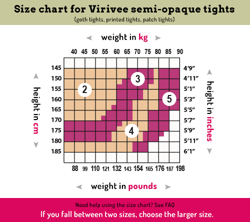 Virivee size chart for semi-opaque tights