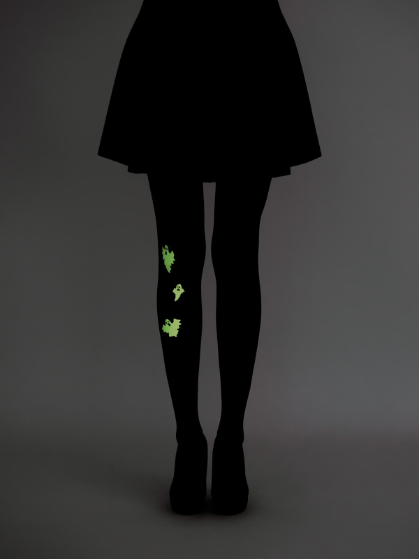 Glow in the dark ghost tights by Virivee