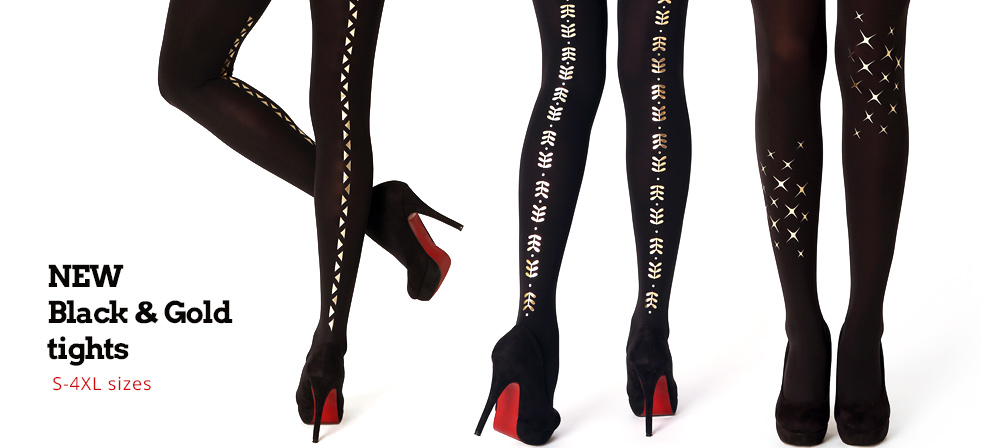 New Black&Gold tights in Plus Sizes too