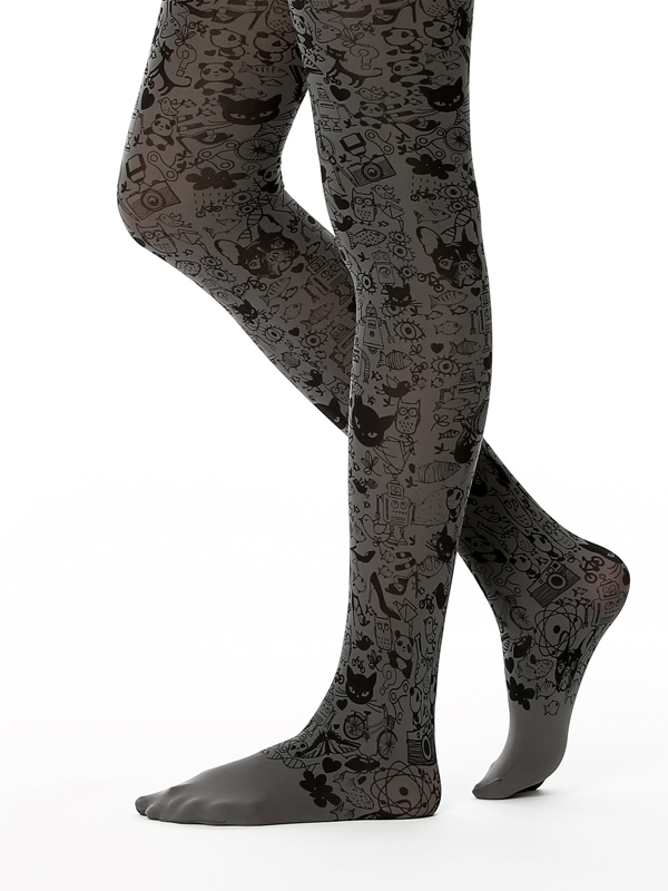 Illustration Tights In Grey