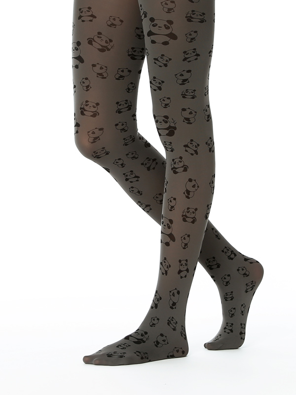 Panda Tights In Grey