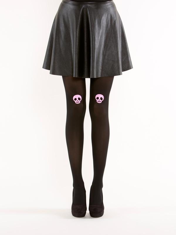 Pink glitter skull tights