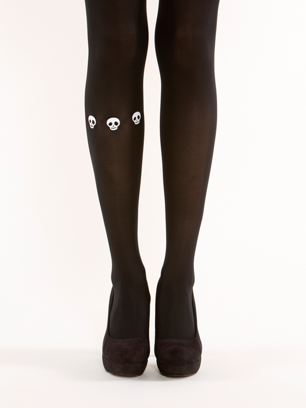 Skulls on one leg tights