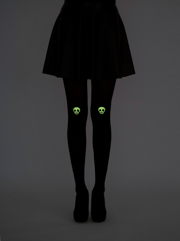 Glow in the dark skull on knee tights
