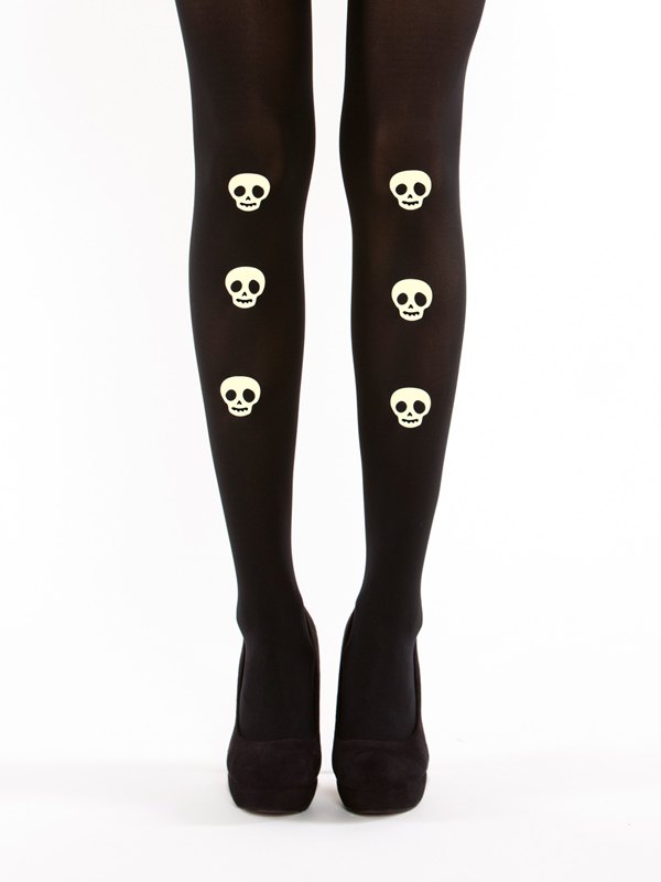 Glow in the dark skulls tights by Virivee