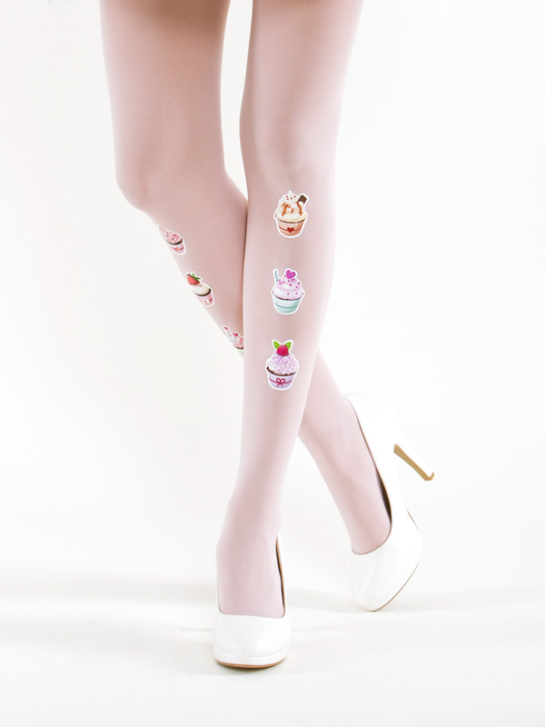 Cupcakes On Rose Tights