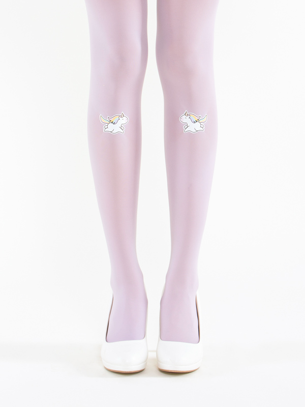 Rainbow unicorns on lavender tights