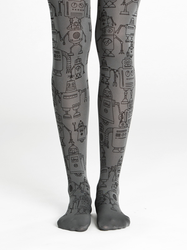 Hand printed grey robot tights
