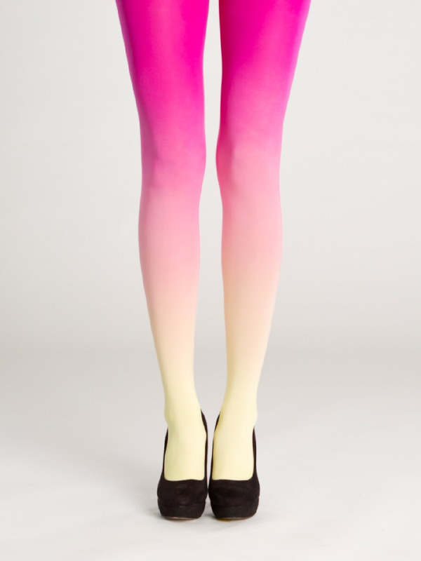 Yellow-magenta ombre tights by Virivee