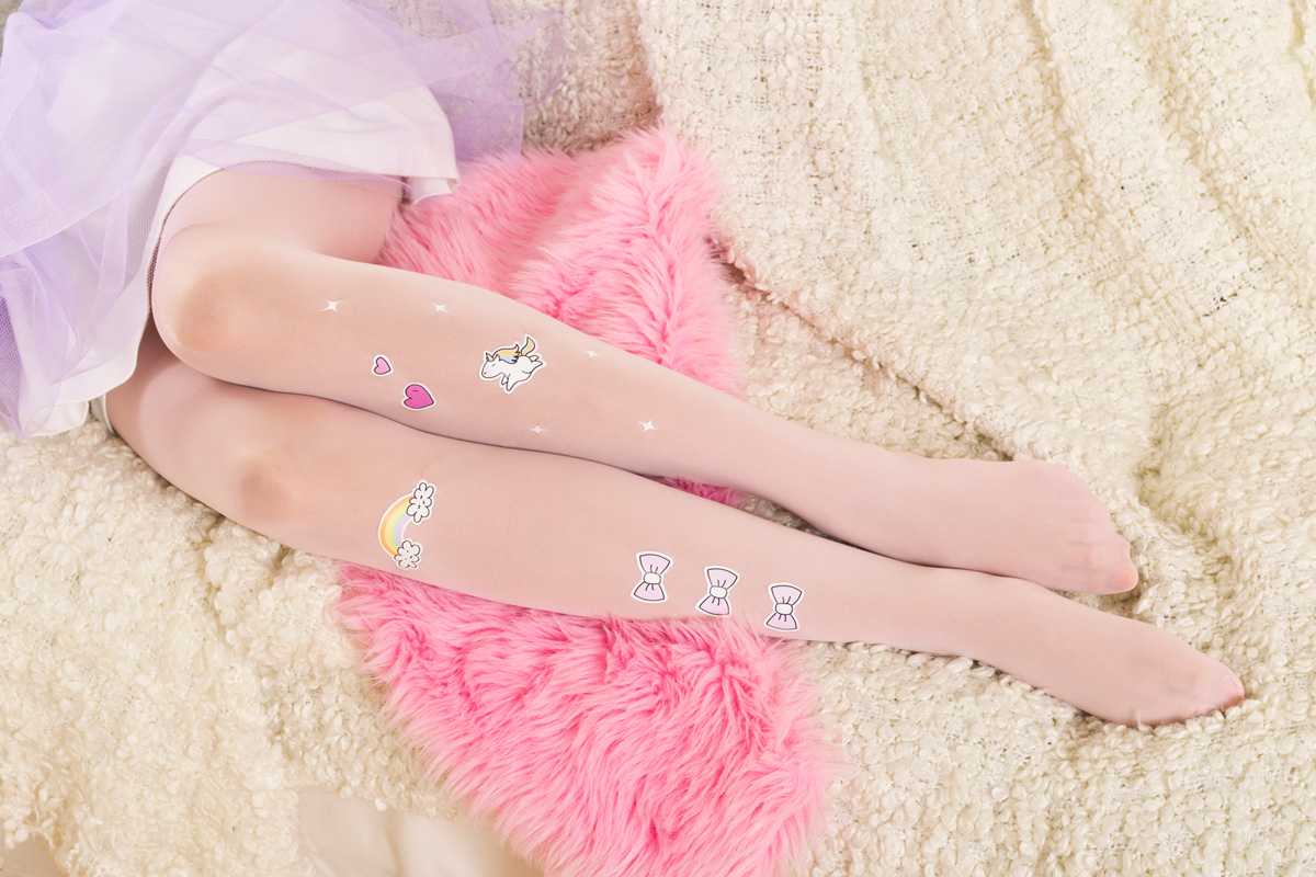 Rainbow unicorn tights by Virivee
