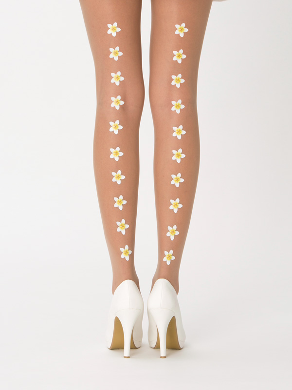 Frangipani flower wedding tights