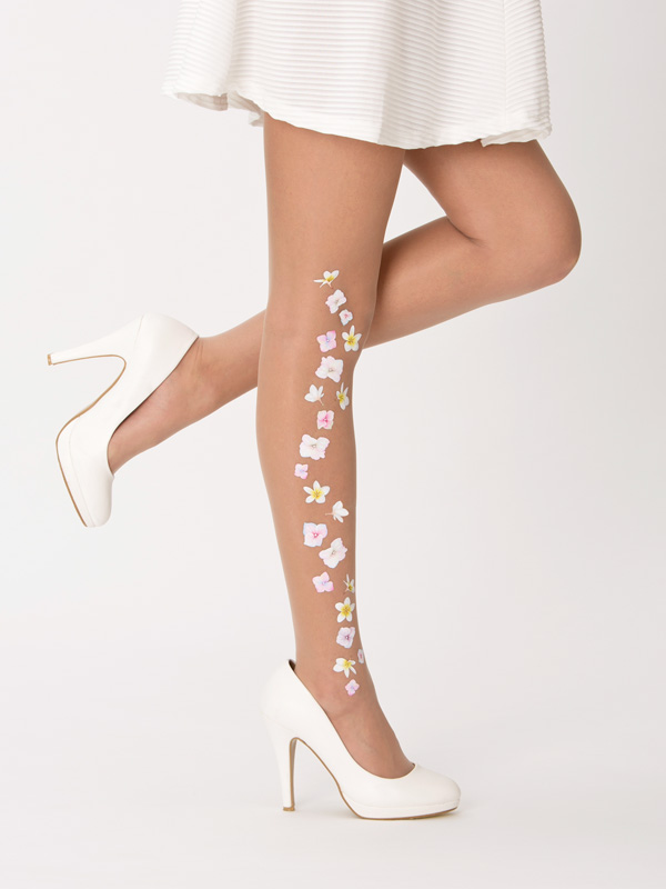 Floral wedding tights by Virivee