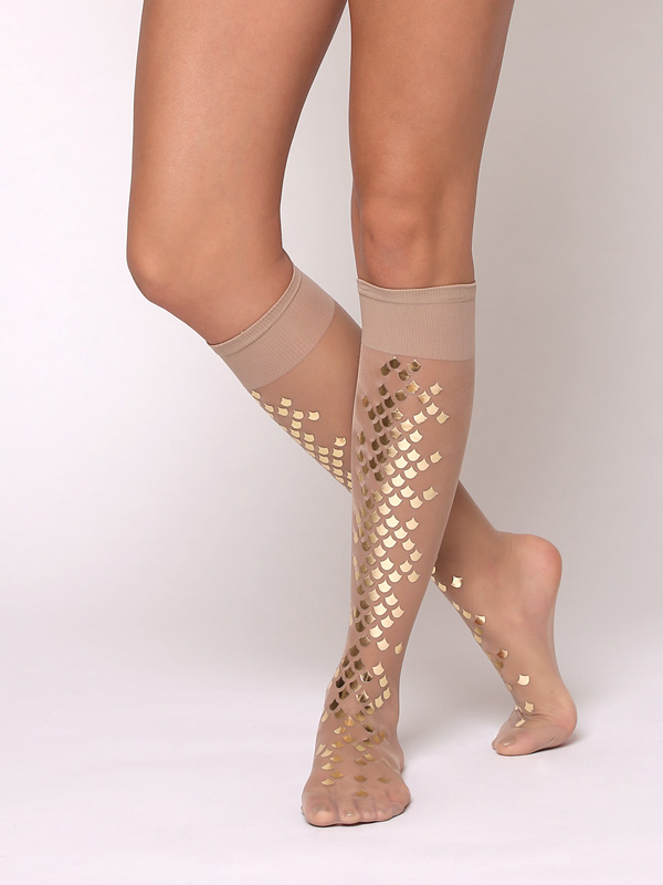 Gold Mermaid Nude Knee Highs