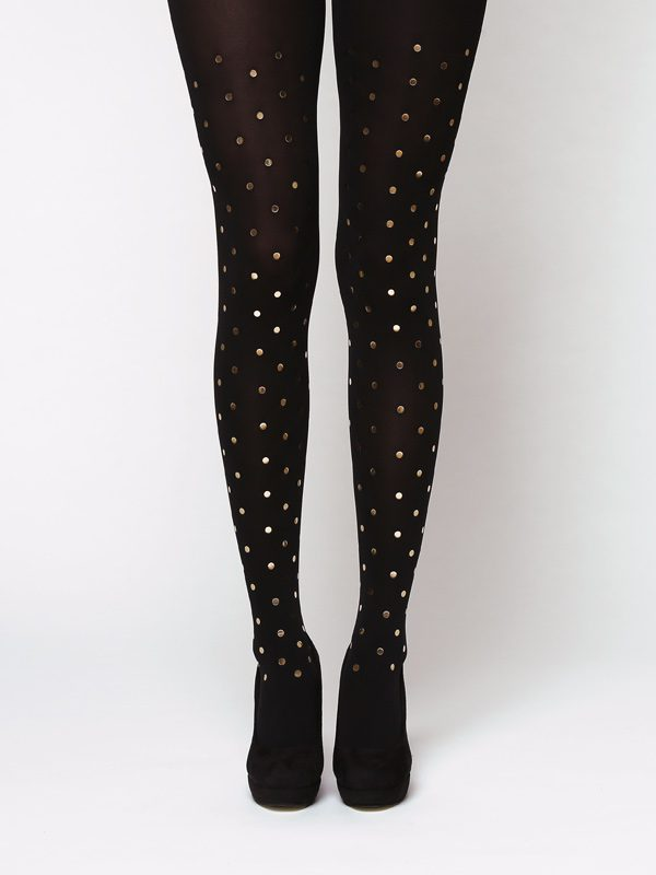 Glossy gold polka dot tights by Virivee