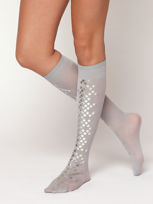 Grey Mermaid Knee Highs