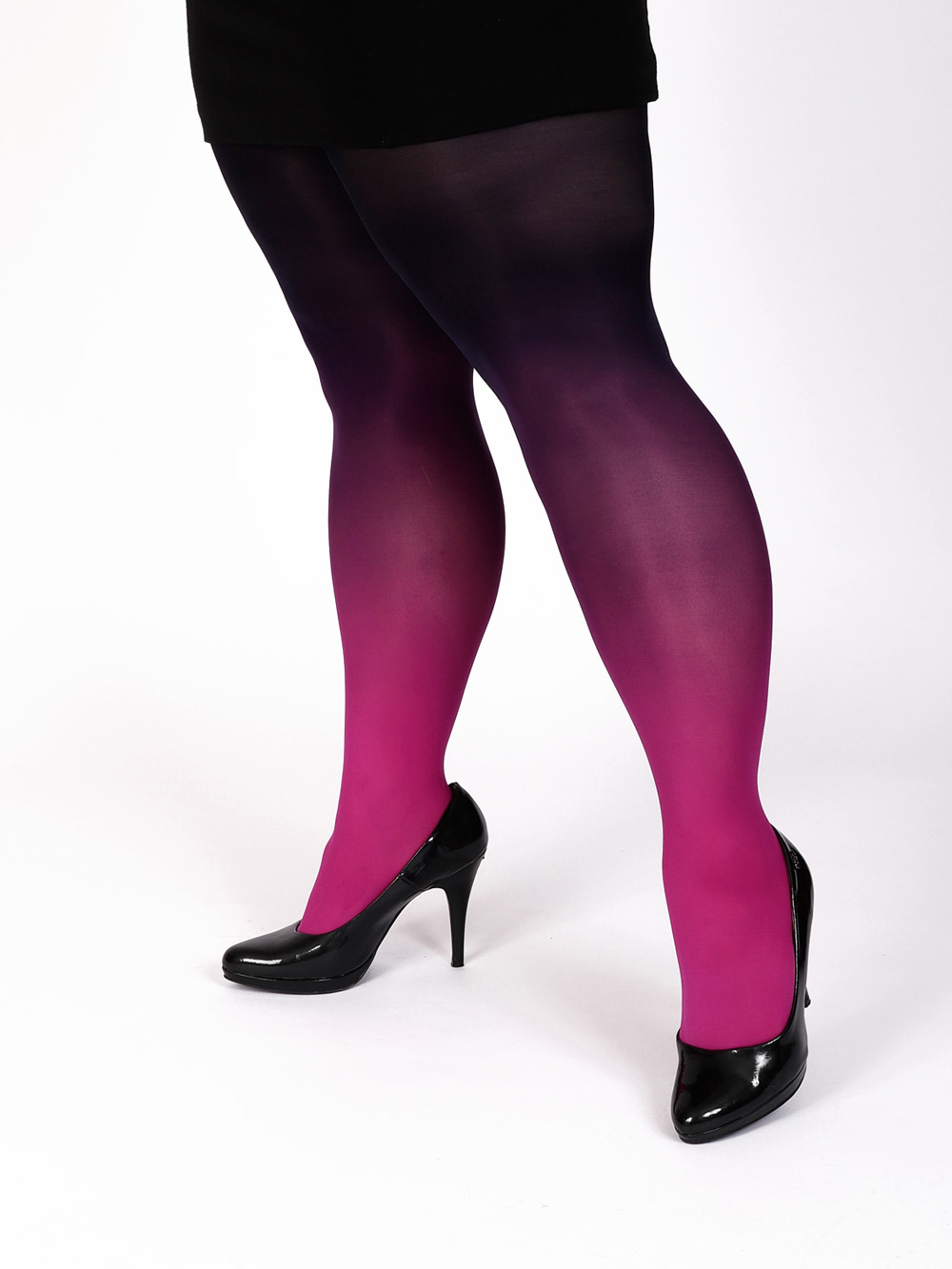 Plus Size Hot Pink-black Tights