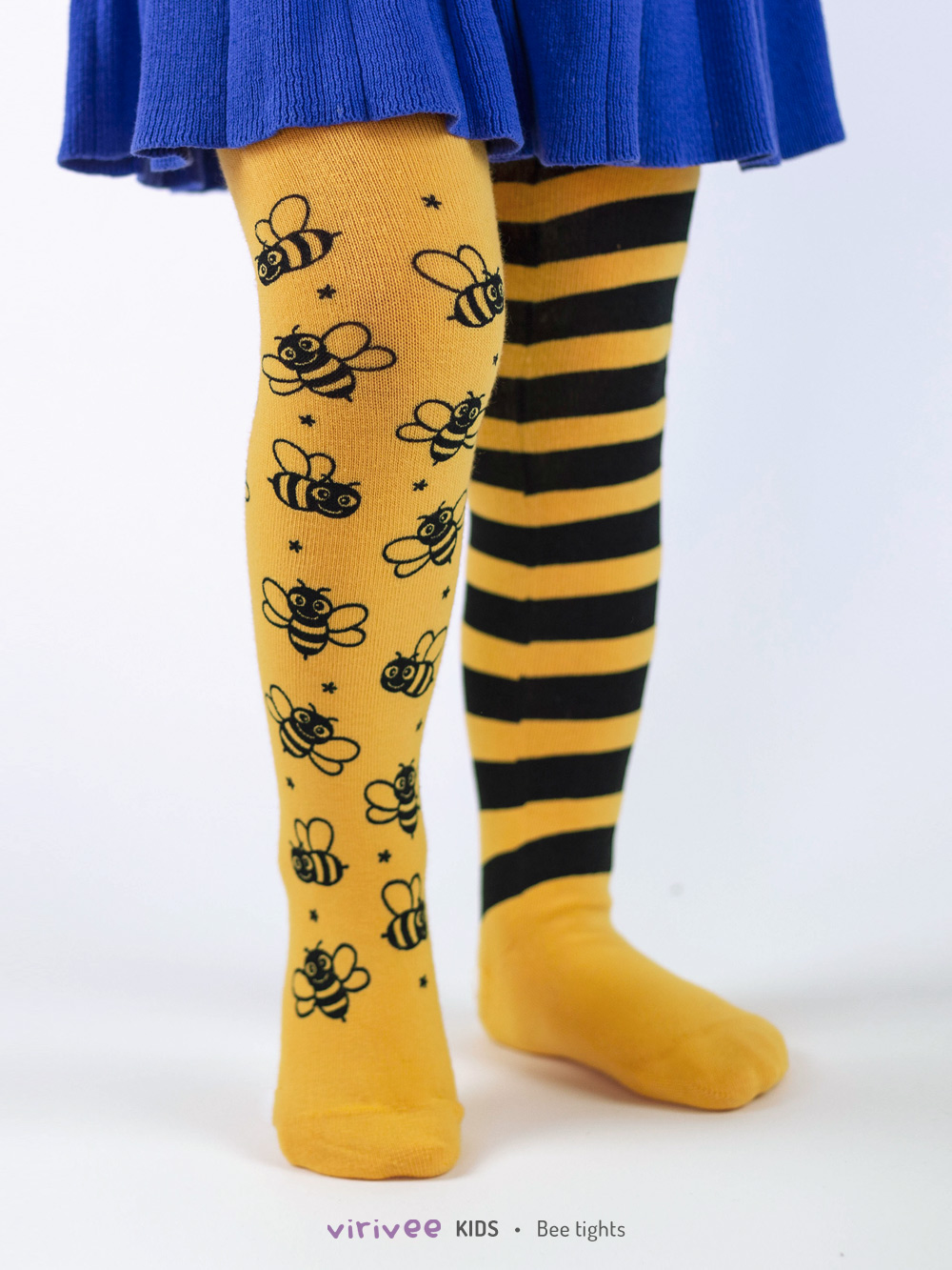 Bee tights for baby toddler and girl