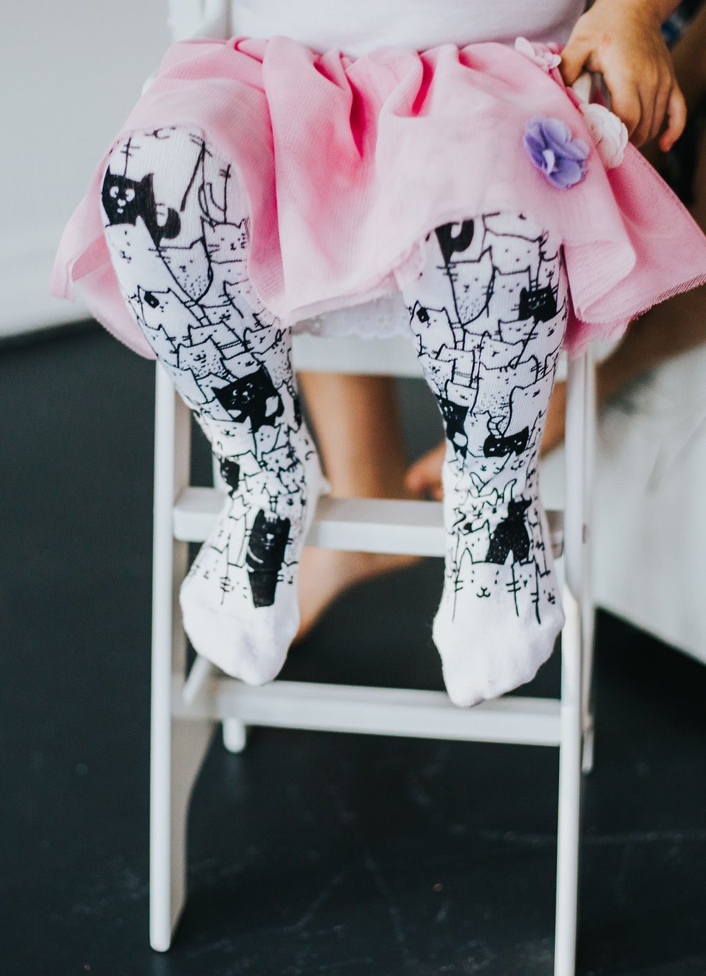White cat tights for girls