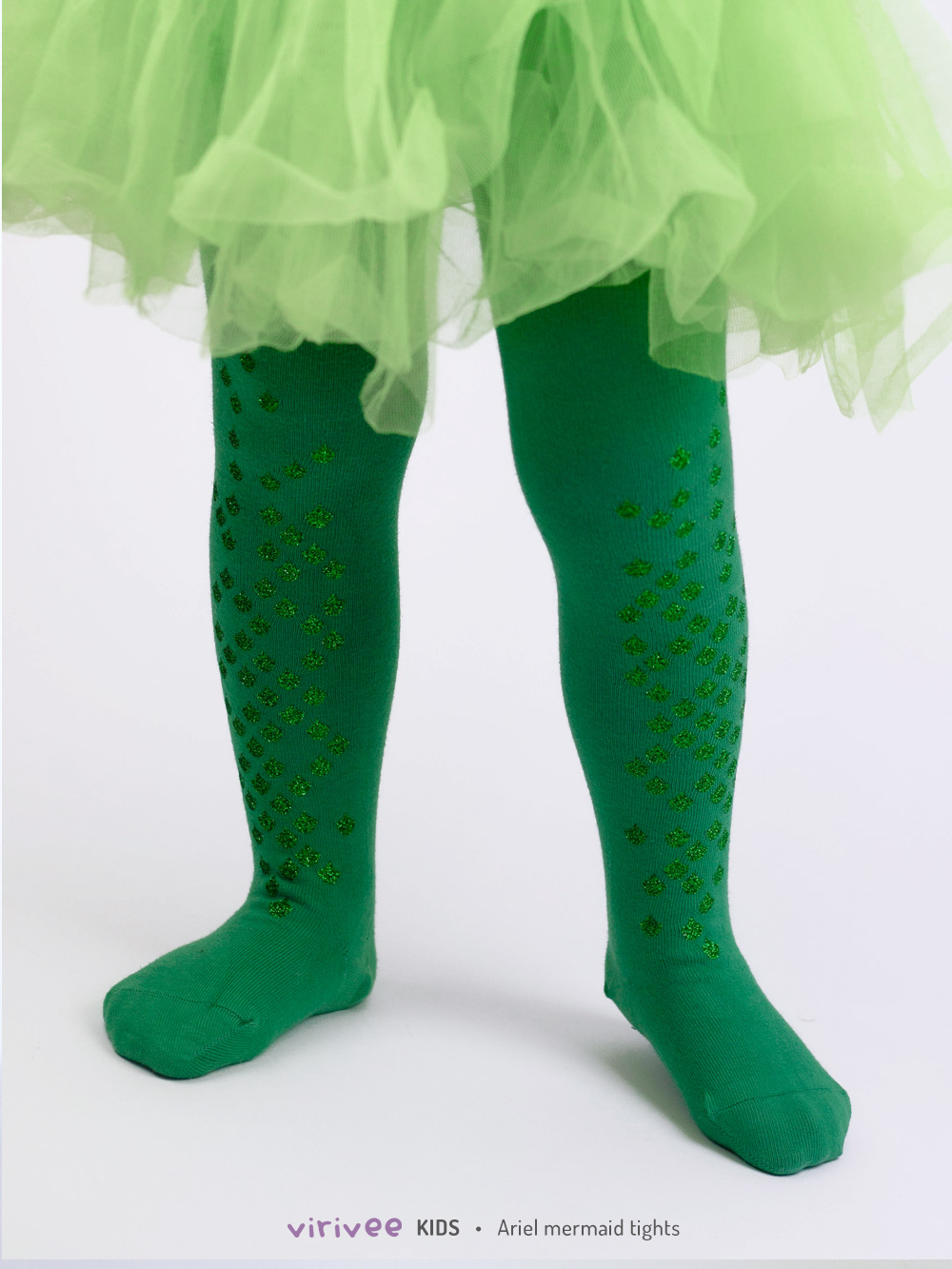 Glitter Ariel Mermaid Tights For Girls