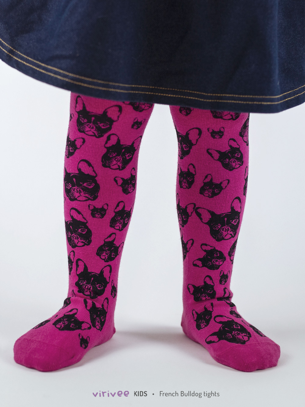 French Bulldog Tights In Dark Pink