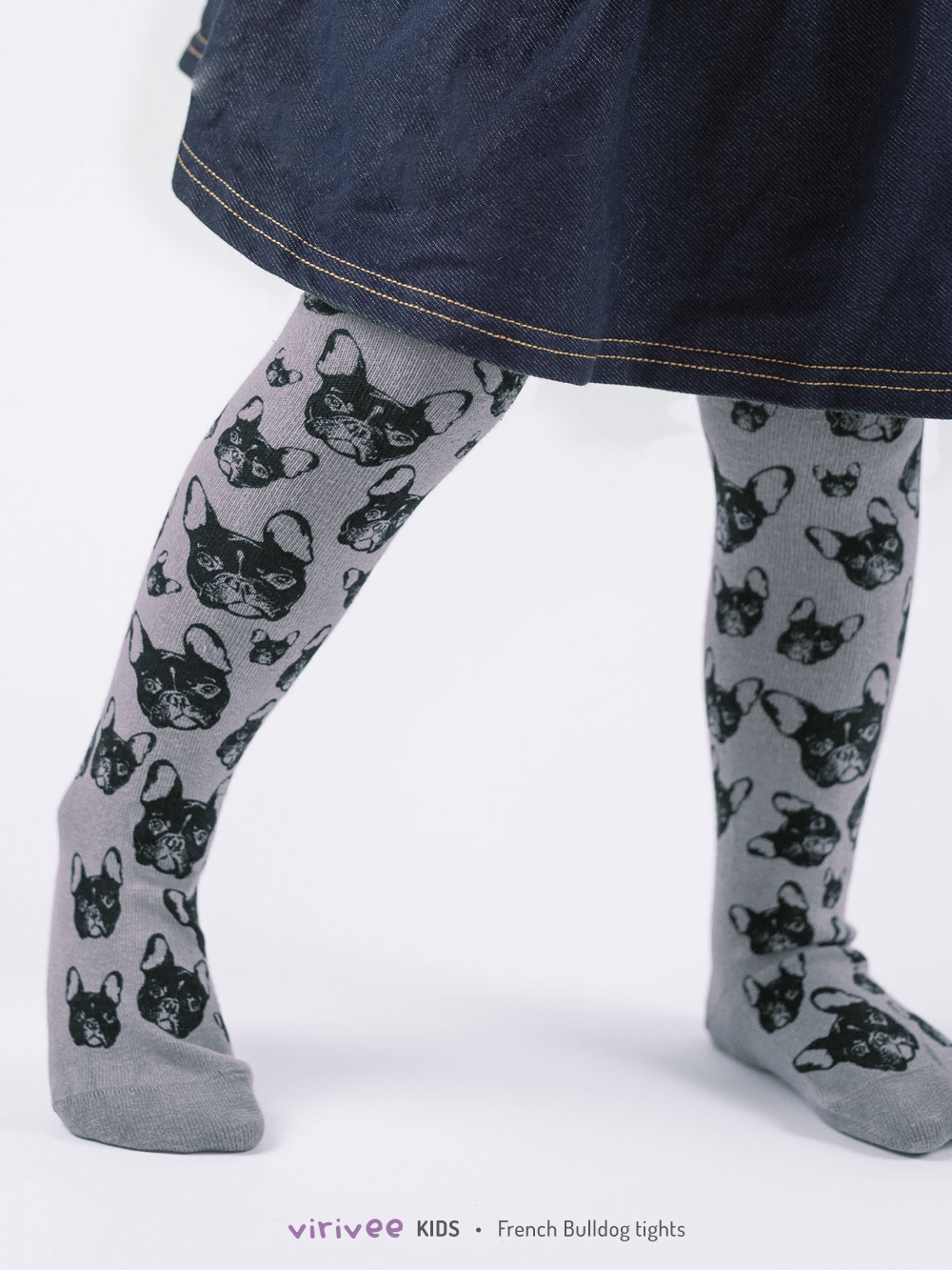 French Bulldog Tights In Grey