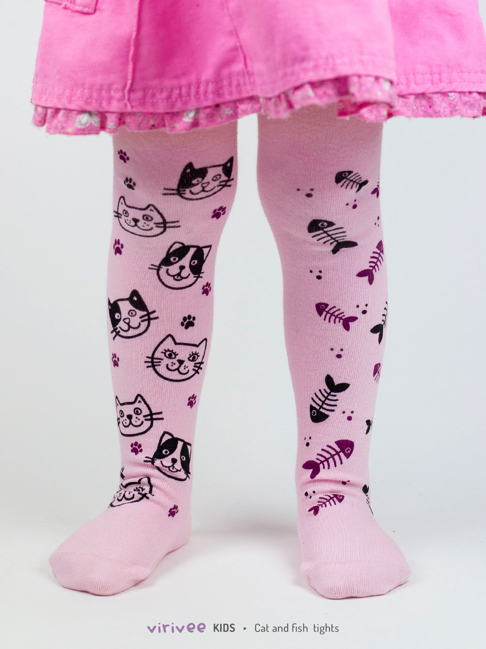 Cat And Fish Girls Tights