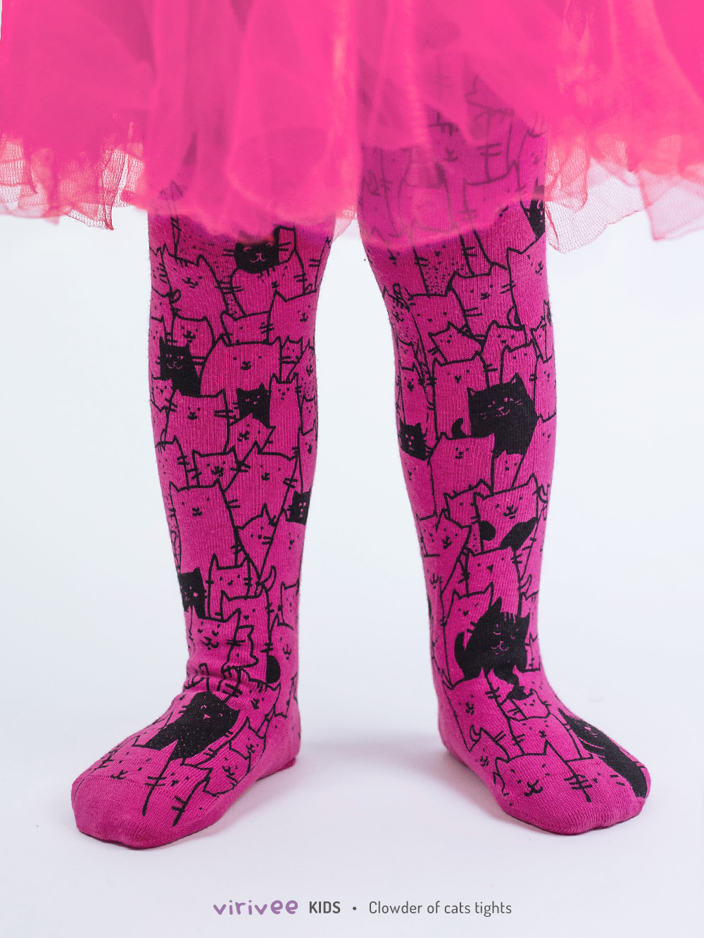 Clowder Of Cats Tights In Dark Pink