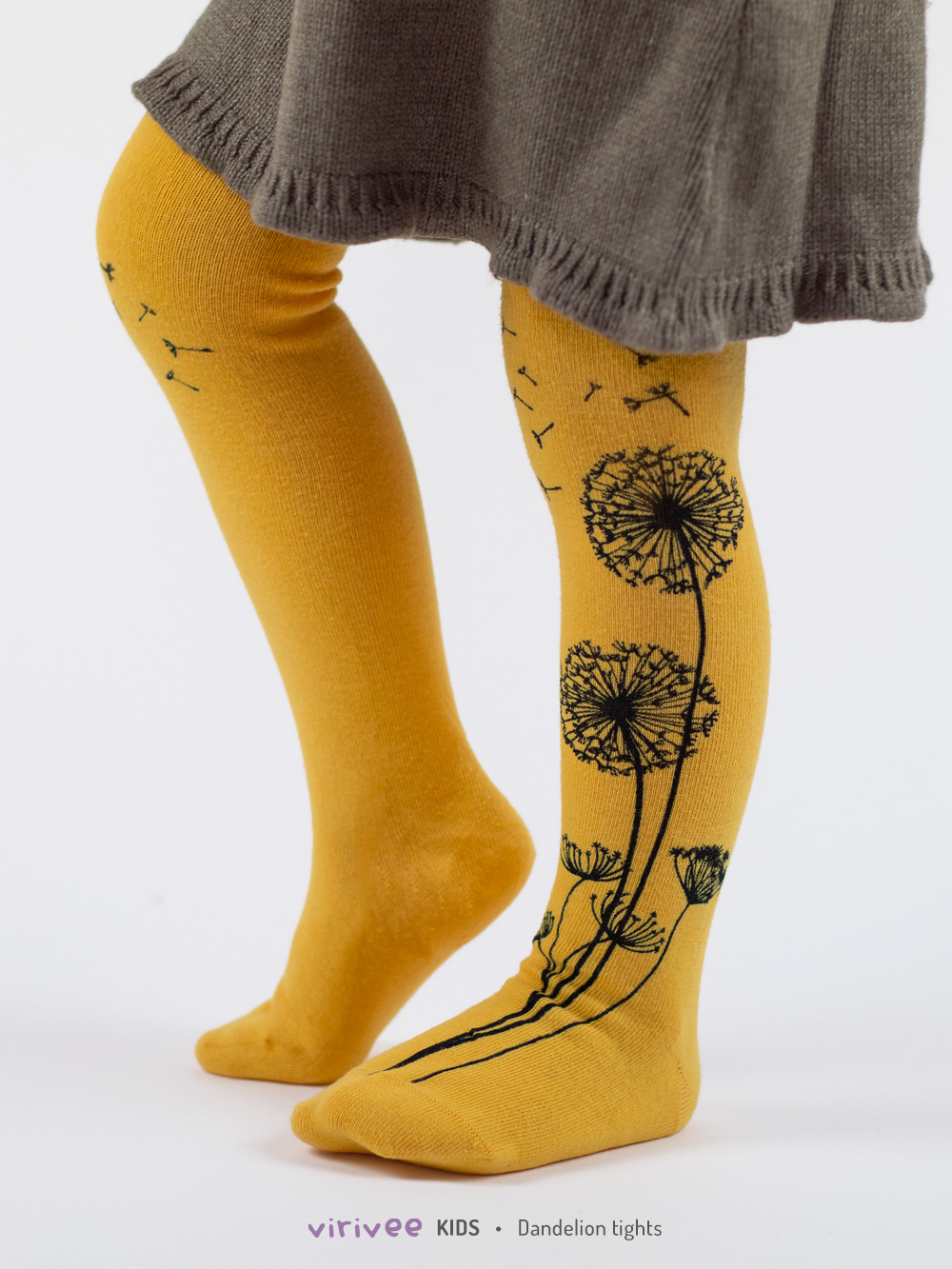 Yellow Dandelion Girls Tights