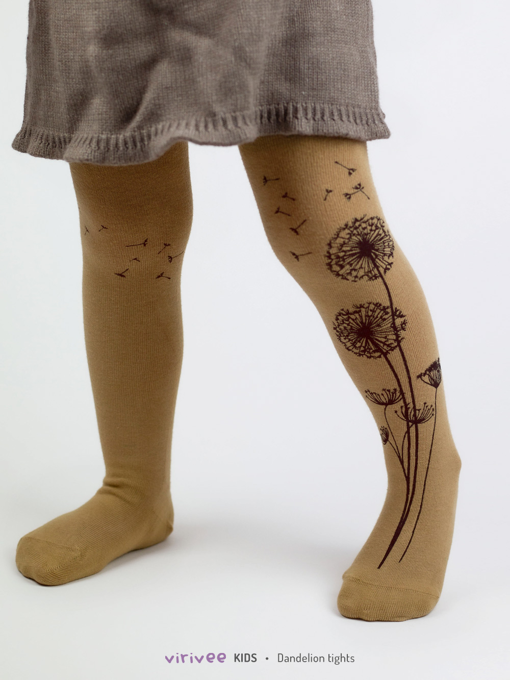 Brown Dandelion Girls Tights