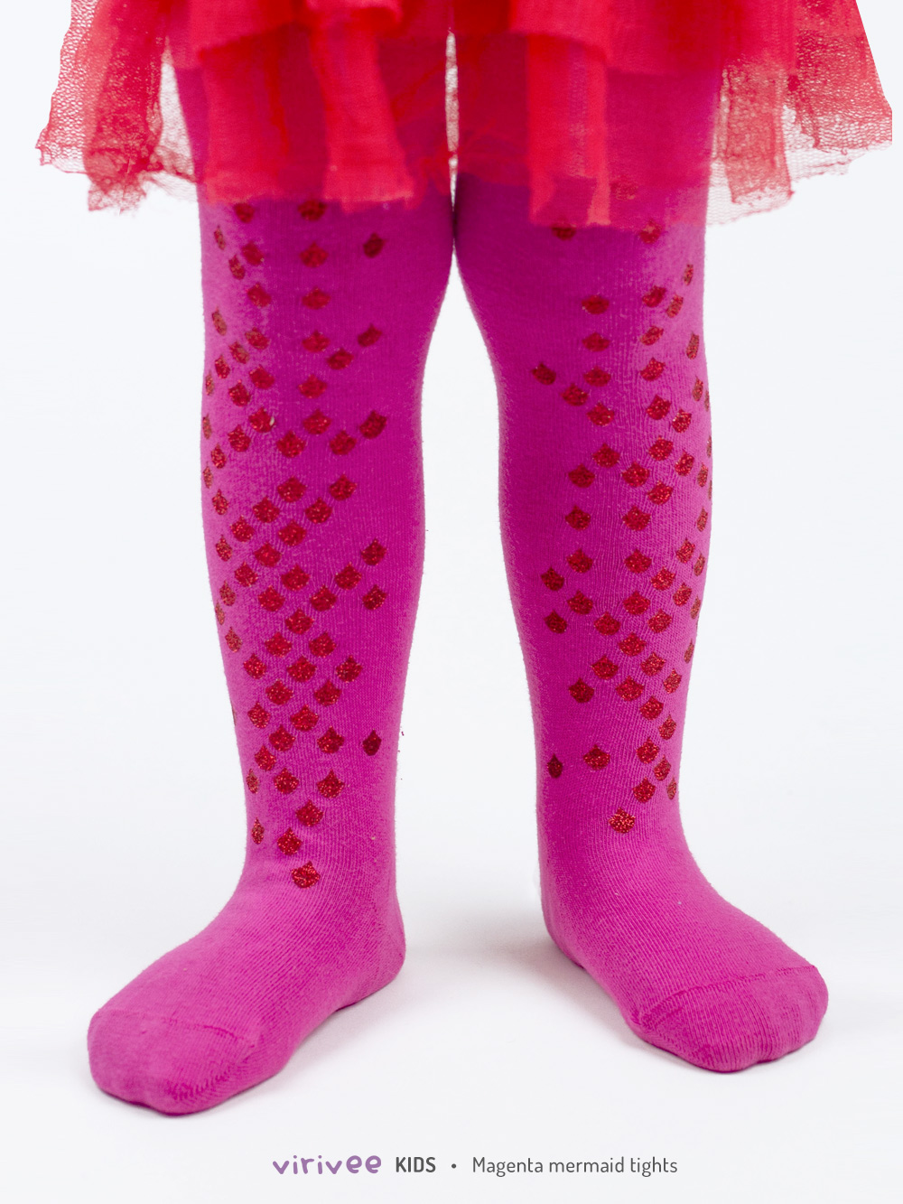 Glitter Dark Pink Mermaid Girls Tights