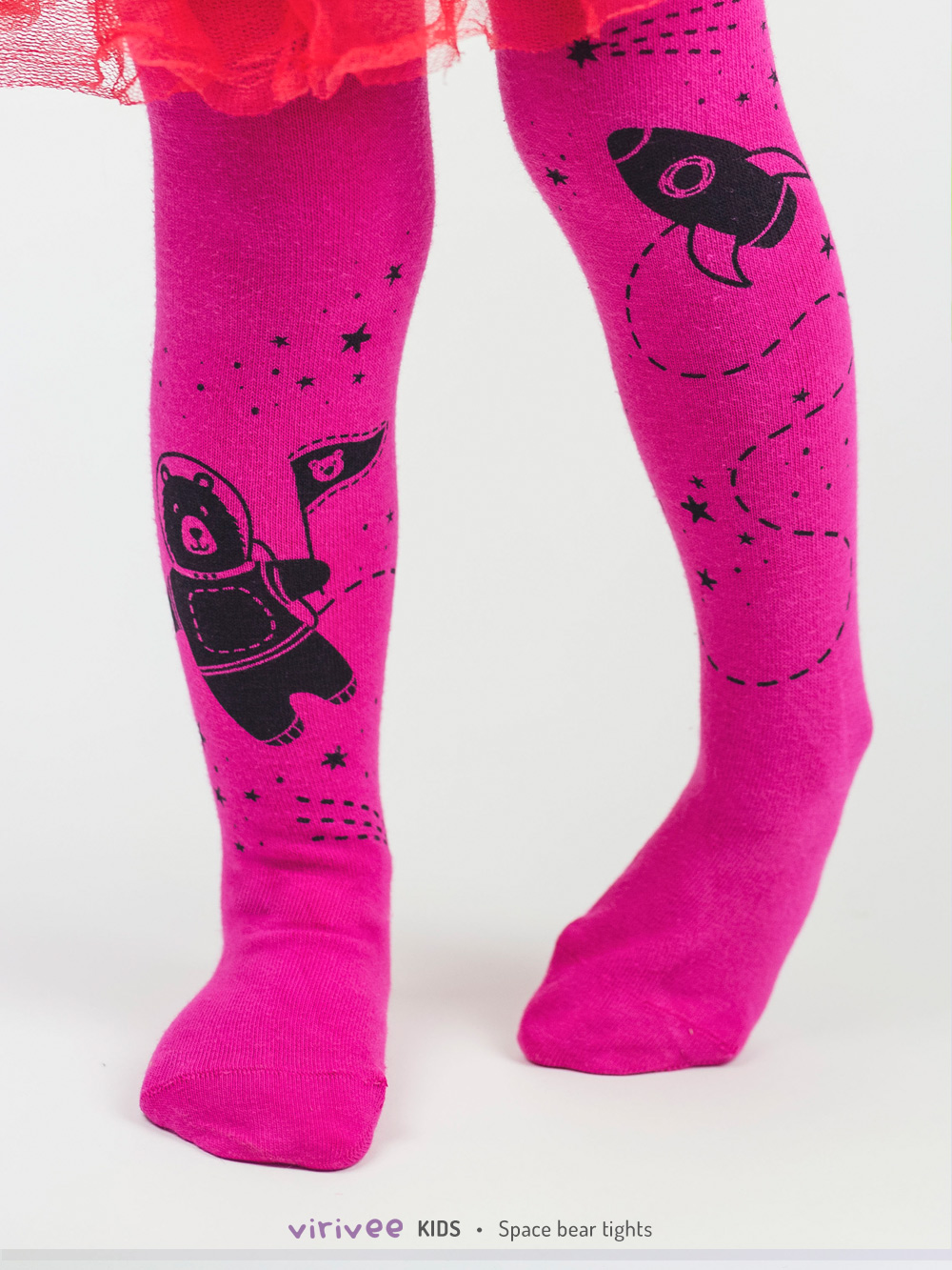 Space Bear Tights In Dark Pink