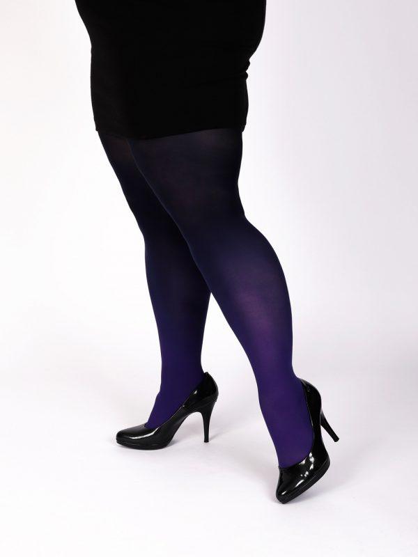 Plus size purple-black ombre tights